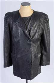 Sale 8926H - Lot 93 - A Saccadri leather jacket with embossed leopard print, approx size 14