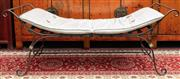 Sale 8942H - Lot 60 - Le Forge iron window seat with lattice top, Length 141cm together with calico style cushion