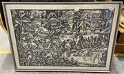 Sale 9004 - Lot 2054 - Framed Cloth Print of a Balinese Scene