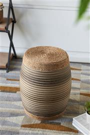 Sale 9075T - Lot 85 - A colorful rattan rope wrap barrel shape stool, with blue and gray coloring mixed in with the natural hues of the rattan and wood. ...