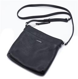 Sale 9132 - Lot 409 - A CALVIN KLEIN LILY CROSSBODY BAG, pebble leather exterior with interior zip and interior and exterior pockets, silver tone hardware...