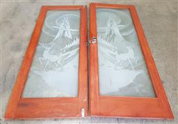 Sale 9151 - Lot 1028 - Pair of etched glass timber frame doors depicting stag & castle (h:200 x w:80cm)