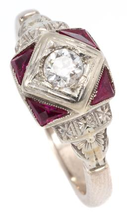 Sale 9156J - Lot 381 - A DECO STYLE 18CT WHITE GOLD DIAMOND AND STONE SET RING; square collet set with an Old European cut diamond of approx. 0.20ct SI2, t...