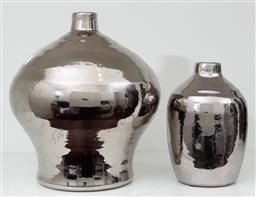 Sale 9150H - Lot 48 - A pair of graduating metallic vases, Height of taller 24cm
