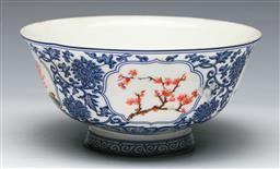 Sale 9144 - Lot 230 - Blue and white Chinese bowl featuring flowers with mark to base (Dia:15.5cm)