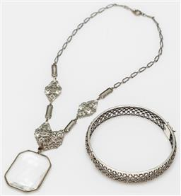 Sale 9162H - Lot 89 - A 925 silver bangle together with a vintage necklace