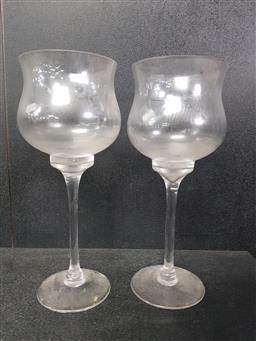 Sale 9254 - Lot 2130 - Pair of glass candle holders