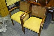 Sale 7987A - Lot 1079 - Pair of Bridge Chairs with Rattan Backs