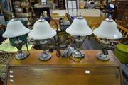 Sale 8039 - Lot 1076 - Set of 4 Table Lamps w White Glass Shades
