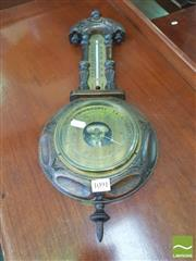 Sale 8428 - Lot 1091 - Oak & Brass Barometer