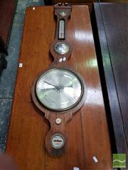 Sale 8496 - Lot 89 - Early 19th Century Rosewood Banjo Barometer, with alcohol thermometer, brass & bone mounts