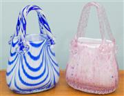 Sale 8470H - Lot 346 - Two Murano candy glass handbag vases, one pink and one blue, H 22m