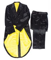 Sale 8550F - Lot 143 - A coat and tails suit by Wana by Karim, with canary yellow silk lining, approx L.