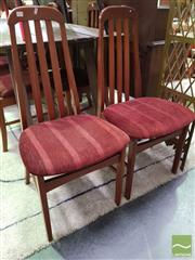 Sale 8554 - Lot 1020 - Set of Six Teak Dining Chairs with Striped Fabric Upholstery