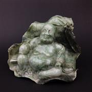 Sale 8567 - Lot 667 - Green Stone Carved Buddha