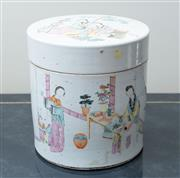 Sale 8562A - Lot 126 - An early C20th Chinese porcelain container with cover, decorated with ladies and children and a Chinese poem, H 21cm