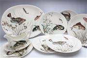 Sale 8725 - Lot 48 - Collection of Johnson Bros Fish Ceramic Wares (Six Plates, Platter, Gravy Boat And Dish)