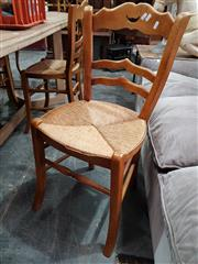 Sale 8904 - Lot 1057 - Set of Four Ladder Back Dining Chairs with Rush Seats