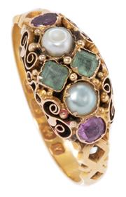 Sale 8965 - Lot 365 - A VICTORIAN 18CT GOLD GEMSET RING; scroll and bead design top set with two step cut emeralds, two oval rubies and 2 seed pearls (som...