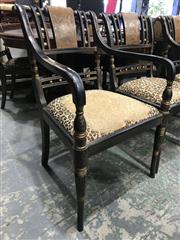 Sale 9031 - Lot 1037 - A set of 6 Georgian Revival painted chairs C: mid 1900s, comprising 4 standard and 2 elbow or carver chairs. The time worn crackled...