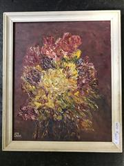 Sale 9024 - Lot 2035 - Eve Lynne Yellow and Pink Flowers oil, 34 x 29cm (frame) signed