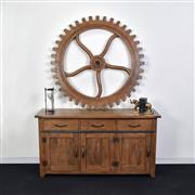 Sale 9075T - Lot 86 - Hardy Interiors original design. A hand carved solid fruitwood cog in a aged smokehouse finish. H: 7 x W: 130 x D: 130