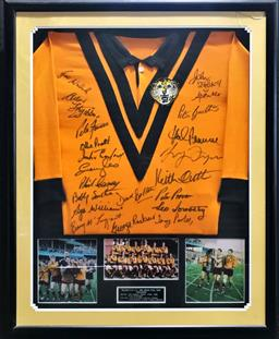 Sale 9112T - Lot 8 - Framed Balmain Tigers 1969 Grand Final Victory signed jersey. small crack to glass (107 x 87cm)