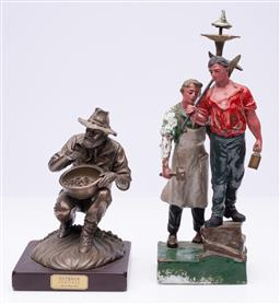 Sale 9185E - Lot 87 - An Outback heritage gold painter figure together with gold miners figural group, taller Height 31cm