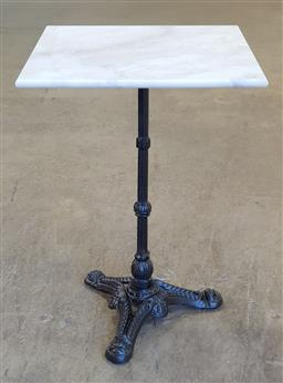 Sale 9174 - Lot 1290 - Square marble top table with cast iron base (h75 x w70cm)