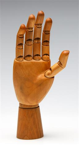 Sale 9253 - Lot 332 - An artists adjustable wooden right hand (H:24cm)