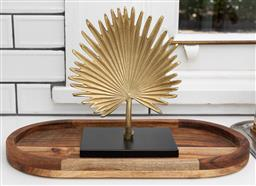 Sale 9248H - Lot 87 - A wooden oval tray and a goldtone fan decorative ornament. width of tray 40cm height of ornament 23cm