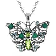 Sale 7982B - Lot 112 - Silver butterfly pendant and chain featuring peridot, emerald and blue tanzanite
