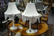 Sale 8039 - Lot 1090 - Set of 4 Table Lamps, 2 w Black Shades, 2 w White Shades