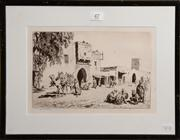 Sale 8080A - Lot 47 - Lionel Lindsay, A Caravansari, etching circa 1930. signed lower left and in plate