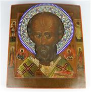 Sale 8139 - Lot 88 - Russian Icon of Saint Nicholas The Miracle Worker