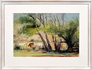 Sale 8266 - Lot 508 - Terrence John Santry (1910 - 1990) - Grazing Horses 35 x 53cm