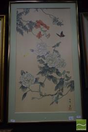 Sale 8497 - Lot 2013 - Korean School, Camellia and Butterfly, ink and gouache, 36.5 x 35.5cm, signed and inscribed lower right