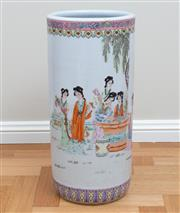 Sale 8562A - Lot 128 - A Chinese porcelain export ware umbrella stand, depicting ladies reading and playing games, H 47cm