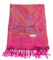 Sale 8640F - Lot 56 - Three pashmina cashmere patterned wraps, to include two pink and a green example.