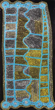 Sale 8786 - Lot 541 - Shorty Robertson Jangala (c1930 - 2014) - Water Dreaming 152 x 76cm (stretched and ready to hang)