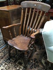 Sale 8882 - Lot 1044 - Victorian Elm & Beech Windsor Armchair, on turned legs with stretchers