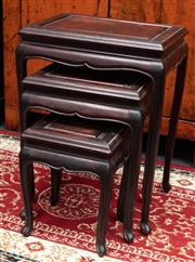 Sale 8942H - Lot 9 - A Chinese rosewood nest of three tables, Height 56cm x width 41cm Depth 31cm