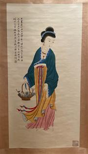 Sale 8980S - Lot 660 - Chinese Scroll of a Lady, Ink and Colour on Paper