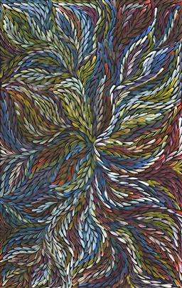 Sale 9150A - Lot 5029 - ROSEMARY (PITJARA) PETYARRE (c1965 - ) Yam Leaf Dreaming acrylic on canvas 96 x 151 cm (stretched and ready to hang) signed verso; c...