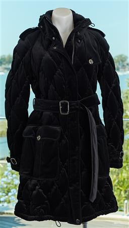 Sale 9120K - Lot 40 - A Burberry London black cotton winter coat; quilted with duck down filling, acetate/ viscose lining, size M