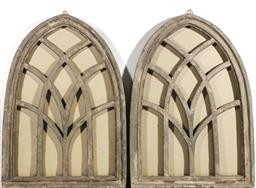 Sale 9164 - Lot 241 - A Pair of Large Composite Gothic Style Windows (L: 70cm) (chip to edge)