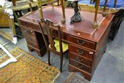 Sale 8035 - Lot 1045 - Timber Twin Pedestal Desk w Red Leather Inlay Top & 9 Drawers