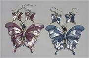 Sale 8036A - Lot 314 - TWO STERLING SILVER BUTTERFLY PENDANTS WITH MATCHING EARRINGS; set with blue and pink mother of pearl, pendants 5cm, earrings 3cm