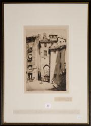 Sale 8080A - Lot 55 - Lionel Lindsay, The Zocodovar gate, Toledo. Drypoint etching, signed lower left. dated 1927