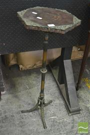 Sale 8255 - Lot 1028 - Small Victorian Brass Stand or Occasional Table, with hexagonal timber top and pedestal